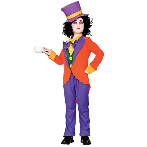 Childrens Boys Mad Hatter Wonderland Costume for Fairytale Alice Fancy Dress